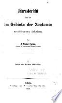 Jahresbericht über die im Gebiete der Zootomie erschienenen Arbeiten