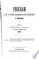 Zprava vyrocni cis. kral. gymnasia slovanskeho v Olomouci