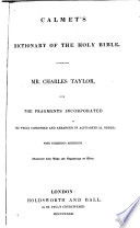 Dictionary of the Holy Bible by Charles Taylor