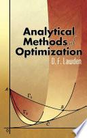 Analytical Methods Of Optimization book