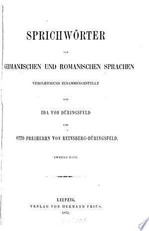 Sprichwörter der germanishcen und romanischen Sprachen Vergleichend