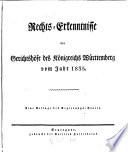 Rechts-Erkenntnisse der Gerichtshöfe des Königreichs Württemberg