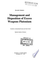 Management and Disposition of Excess Weapons Plutonium