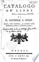 Catalogo d   libri della biblioteca di S  Angelo a Nido quali  come duplicati  si vendono nella medisima