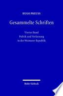 Politik und Verfassung in der Weimarer Republik