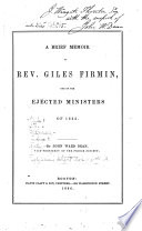 A Brief Memoir Of Rev Giles Firmin One Of The Ejected Ministers Of 1662