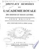 Nouveaux M Moires De L Academie Royale Des Sciences Et Belles Lettres