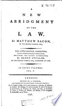 A New Abridgment of the Law