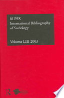 International Bibliography Of Sociology 2003 Bibliographie Internationale Des Sciences Sociales