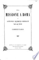 Della missione a Roma di Antonio Rosmini Serbati negli anni 1848 49