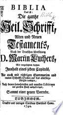 Biblia     nach der Teutschen   bersetzung D  M  Luthers     Sammt einer neuen Vorrede