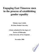 Engaging East Timorese Men in the Process of Establishing Gender Equality