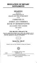 Regulation of Dietary Supplements