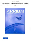 Answer Key for the Student Activities Manual for Arriba   Comunicacion Y Cultura