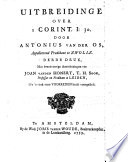 Uitbreidinge Over I Corint I 30