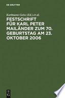 Festschrift für Karl Peter Mailänder zum 70. Geburtstag am 23. Oktober 2006