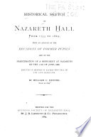 Historical Sketch of Nazareth Hall from 1755 to 1869