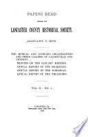 Historical Papers and Addresses of the Lancaster County Historical Society Book PDF