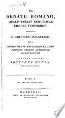 De senatu romano qualis fuerit reipublicae liberae temporibus