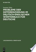 Probleme Der Differenzierung Im Deutsch Englischen W Rterbuch F R Deutsche