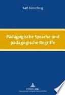 Pädagogische Sprache und pädagogische Begriffe