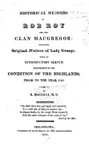 Historical Memoirs of Rob Roy and the Clan Macgregor