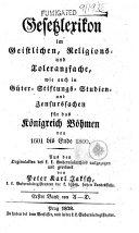 Gesetzlexikon im Geistlichen-, Religions- und Toleranzfache