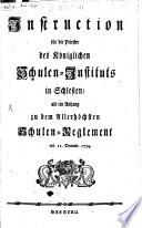 Instruction für die Priester des Königlichen Schulen-Instituts in Schlesien