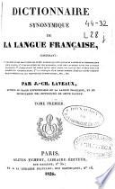 Dictionnaire synonymique de la langue fran  aise