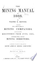 Mining Manual Containing Full Particulars Of Mining Companies