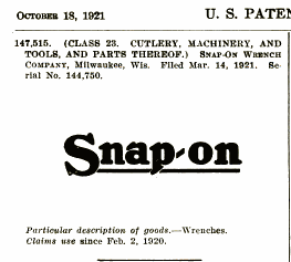 [1921 Trademark Publication for Snap-on]