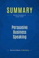 download ebook summary: persuasive business speaking pdf epub