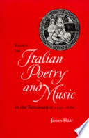 Essays on Italian Poetry and Music in the Renaissance  1350 1600