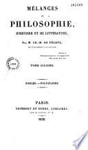 Mélanges de philosophie, d'histoire et de littérature