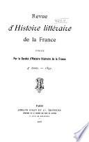 Revue D Histoire Litt Raire De La France