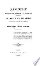 Manuscrit trouv   dans la garderobe du Duc de      le 23 F  vrier 1848  et intitul    Lettre d un Invalide  planteur de choux  victime de l abus des influences     J  r  me Paturot  p  chant    la ligne