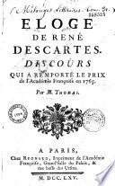 Eloge de René Descartes, Discours qui a remporté le prix de l'Académie Françoise en 1765