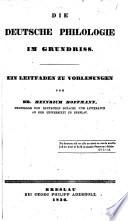 Die deutsche Philologie im Grundriss