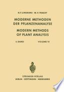 Modern Methods of Plant Analysis   Moderne Methoden der Pflanzenanalyse