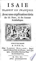 La sainte bible  traduite en francois avec l explication du sens litteral et du sens spirituel tiree des ss  peres