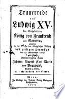 Lobrede auf Ludovicus XV   K  nig von Frankreich