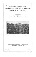 The Work Of The Yuma Reclamation Project Experiment Farm In 1919 And 1920 book