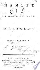 Hamlet, Prince of Denmark. A tragedy