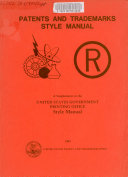 Patents And Trademarks Style Manual