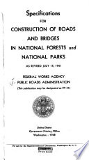 Specifications For Construction Of Roads And Bridges In National Forests And National Parks As Revised July 15 1941