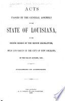 Actes Passés À la Session de la Législature de L'état de la Louisiane