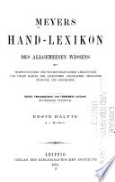 Meyers Hand Lexikon Des Allgemeinen Wissens  Bd  A Kyzikos