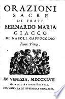 Orazioni sacre   di   frate   Bernardo   Maria   Giacco   di   Napoli   Cappuccino