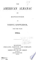 the american almanac and repository of useful knowledge for the year 1854 Book PDF