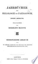 Neue Jahrbücher für Philologie und Paedagogik